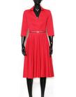 Bawełniano- wiskozowa czerwona sukienka z zakładeczkami (6)