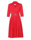 Bawełniano- wiskozowa czerwona sukienka z zakładeczkami (3)