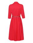 Bawełniano- wiskozowa czerwona sukienka z zakładeczkami (4)