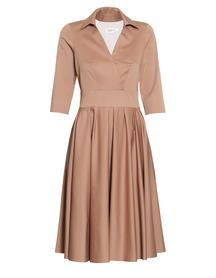 Sukienka z mieszanki bawełny i wiskozy w kolorze kakaowym