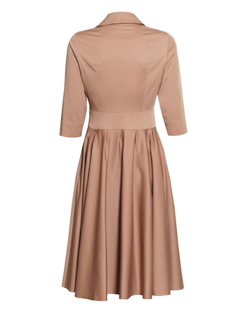 Sukienka z mieszanki bawełny i wiskozy w kolorze kakaowym (2)