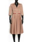 Sukienka z mieszanki bawełny i wiskozy w kolorze kakaowym (3)