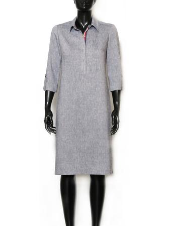 Sukienka z kołnierzykiem z mieszanki lnu. (3)