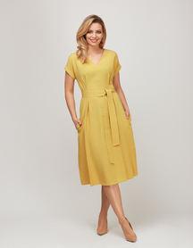 Sukienka z przewiewnej tkaniny - żółta