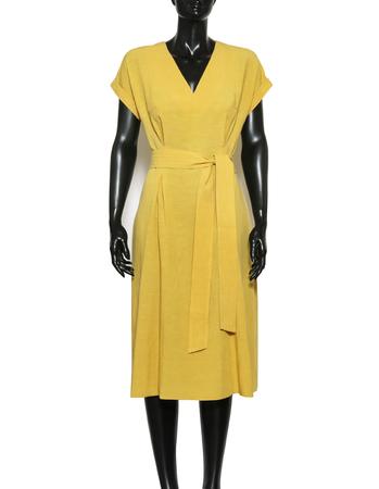 Sukienka z przewiewnej tkaniny - żółta (5)