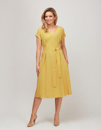 Sukienka z przewiewnej tkaniny - żółta (2)
