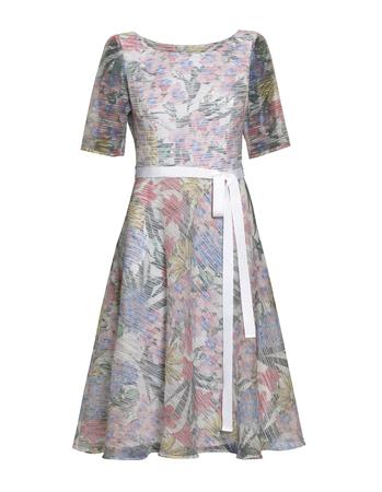 Sukienka z wirującym dołem z lekkiej tkaniny z nadrukiem kwiatowym (3)