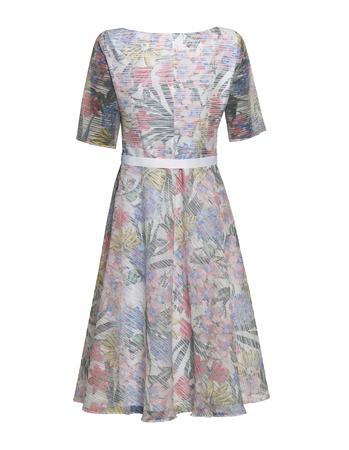 Sukienka z wirującym dołem z lekkiej tkaniny z nadrukiem kwiatowym (4)