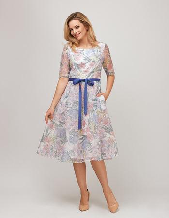 Sukienka z wirującym dołem z lekkiej tkaniny z nadrukiem kwiatowym (2)