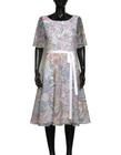 Sukienka z wirującym dołem z lekkiej tkaniny z nadrukiem kwiatowym (5)
