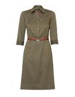 Prosta sukienka z zapięciem polo w kolorze khaki (1)