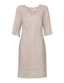Lniana sukienka szaro- beżowa