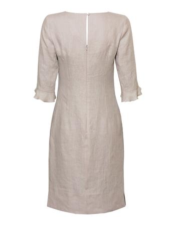 Lniana sukienka szaro- beżowa (4)