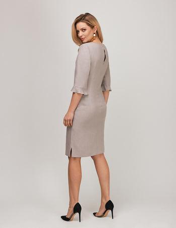 Lniana sukienka szaro- beżowa (2)