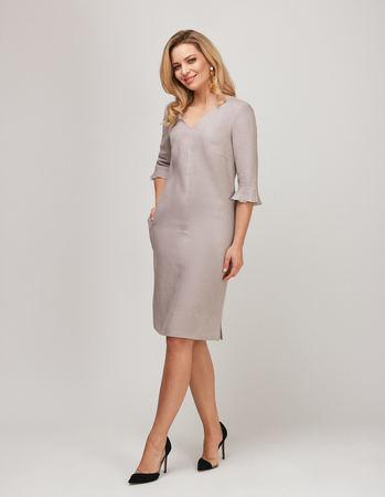 Lniana sukienka szaro- beżowa (1)