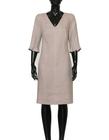 Lniana sukienka szaro- beżowa (5)
