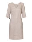 Lniana sukienka szaro- beżowa (3)
