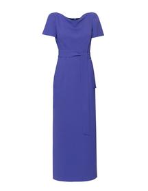 Elegancka długa prosta z ładnym dekoltem- kobaltowo-fioletowa