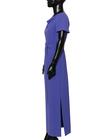 Elegancka długa prosta z ładnym dekoltem- kobaltowo-fioletowa (4)