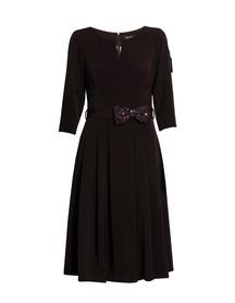 Sukienka z zakładkami - bakłazanowa