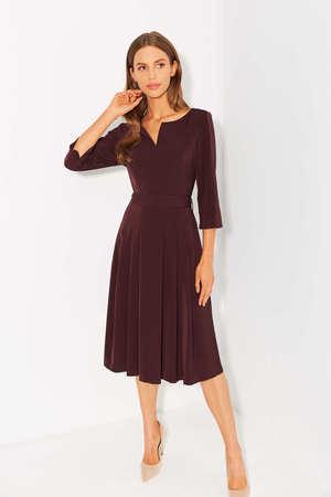 Sukienka z zakładkami - bakłazanowa (1)