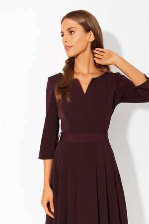 Sukienka z zakładkami - bakłazanowa (2)