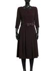 Sukienka z zakładkami - bakłazanowa (5)