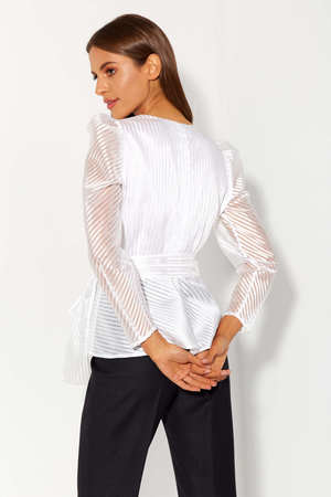 Wizytowa fantazyjna biała bluzka  (2)