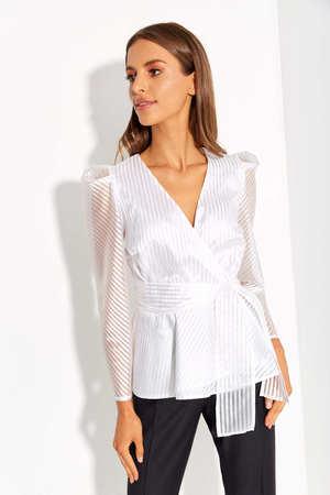 Wizytowa fantazyjna biała bluzka  (1)