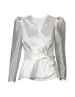 Wizytowa fantazyjna biała bluzka  (4)