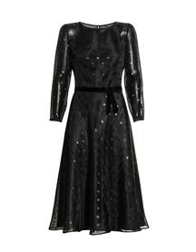 Czarna lekka midi z przeźroczystej tkaniny w błyszczące koła