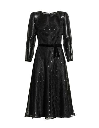 Czarna lekka midi z przeźroczystej tkaniny w błyszczące koła (3)